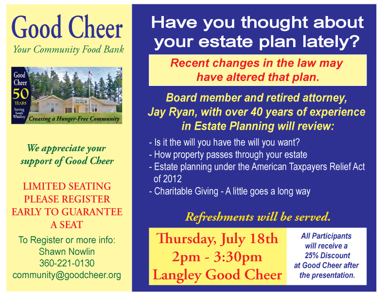 Register now for the July 18 Estate Planning Workshop with Jay Ryan
