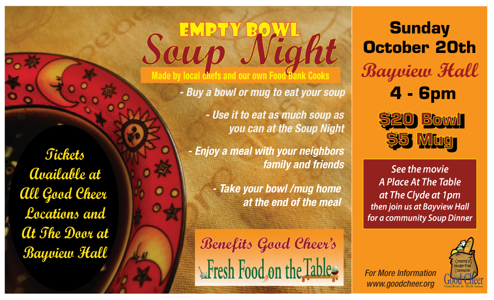 Empty Bowl Soup Night to Feed Families through the Winter – October 20th
