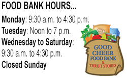 Food Bank Hours widget